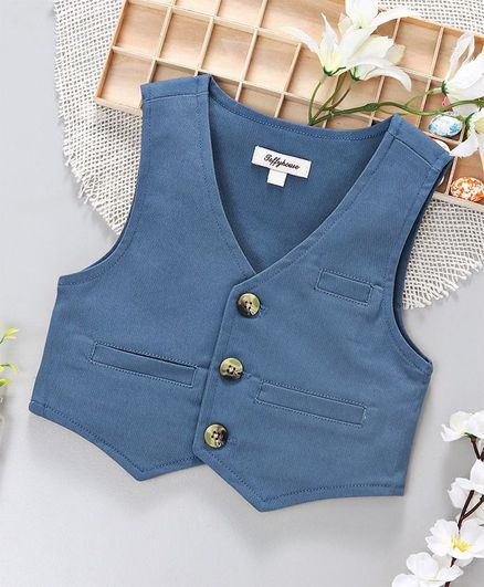 ToffyHouse Party Wear Waistcoat - Blue