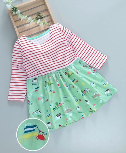 Kookie Kids Striped Animal Printed Full Sleeves Dress - Red & Green