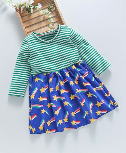 Kookie Kids Striped Star Printed Full Sleeves Dress - Blue & Green