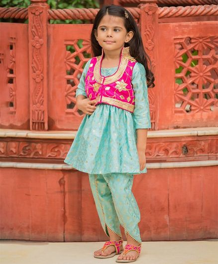 Fairies Forever Kurta & Bottom Set With Embroidered Jacket - Pink & Green