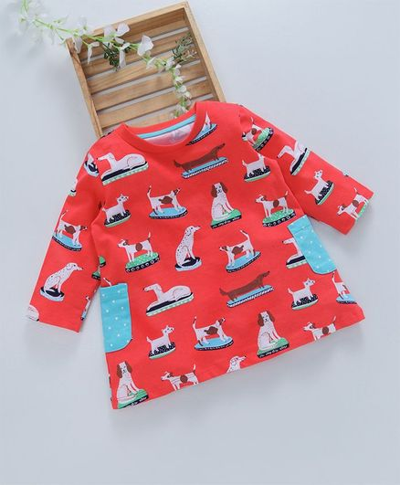 Kookie Kids Dogs Printed Full Sleeves Dress - Red