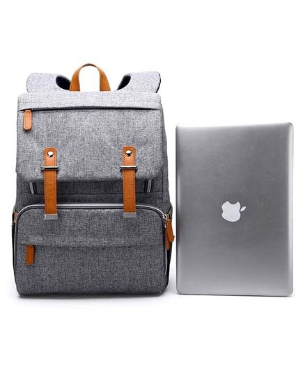Baby Diaper Laptop Bag Backpack with Large Capacity and Diaper Changing Station - Grey