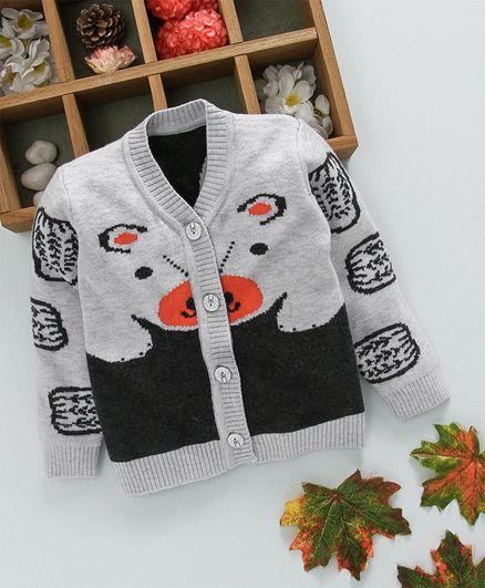 Kookie Kids Printed Front Open Full Sleeves Sweater - Grey
