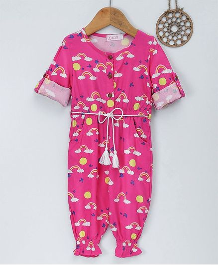 85bbc0e91a Buy ELE Rainbow Printed Full Sleeves Jumpsuit Pink for Girls (12-18 ...