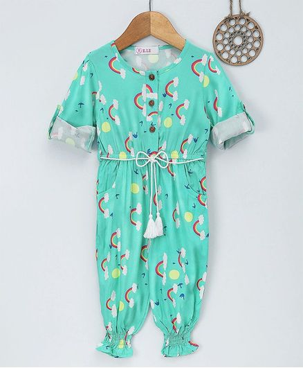 ee36733313 Buy ELE Rainbow Printed Full Sleeves Jumpsuit Green for Girls ...