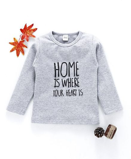 Menga Wa Home Is Where Your Heart Is Print Tee - Grey