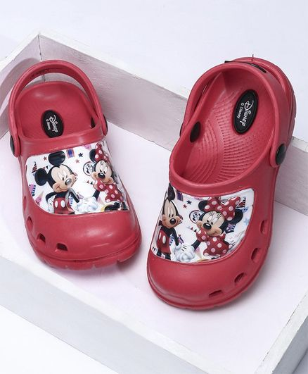 Cute Walk by Babyhug Clogs With Back Strap Mickey Mouse Design - Red