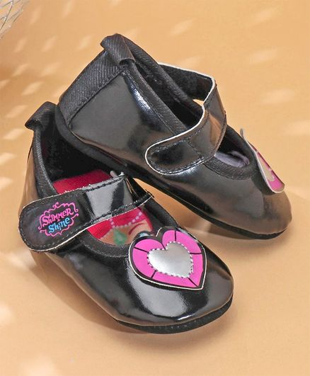 Buy Shimmer   Shine Booties With Heart Patch Black for Girls (4-8 ... 00a212497e2e