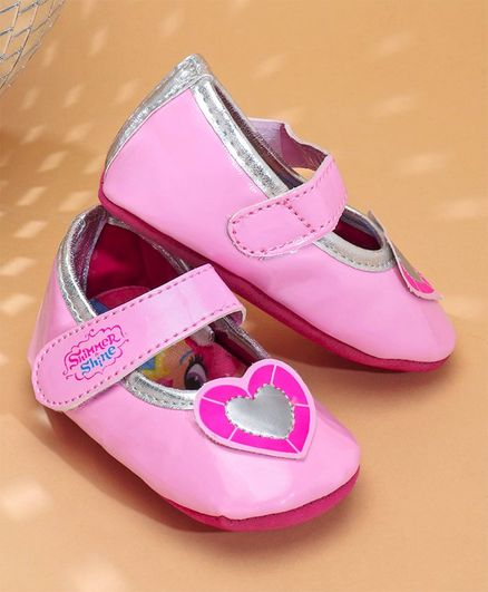 Buy Shimmer   Shine Booties With Heart Patch Pink for Girls (8 ... a3b1644b7eaf
