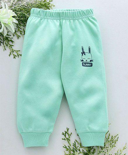 Babyhug Full Length Cotton Lounge Pant Bunny Print - Sea Green