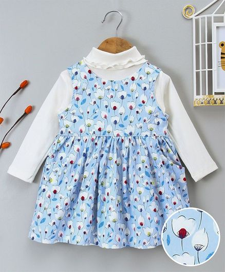YiYi Garden Flower Print Dress With Full Sleeves Inner - Blue