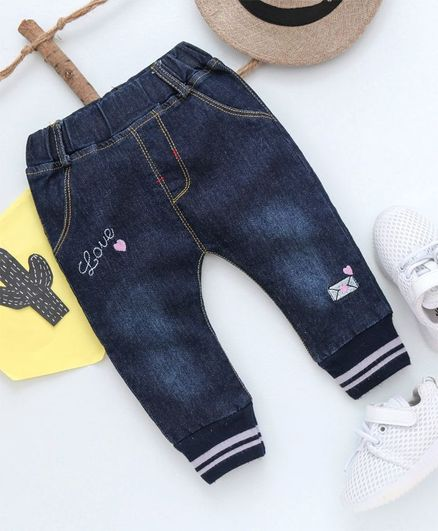 Kookie Kids Love Print Full Length Jeans - Blue