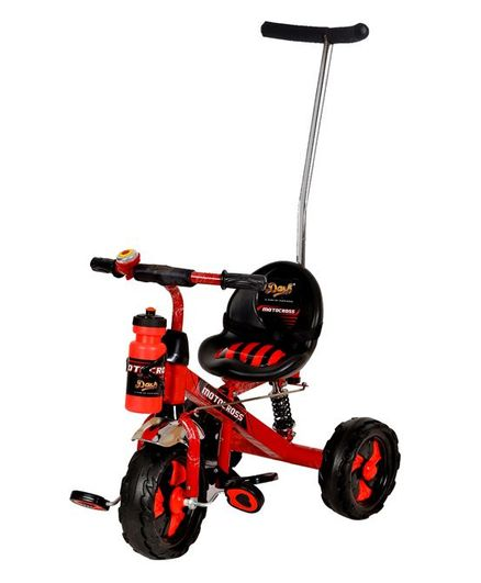 Dash Motocross Stylish Tricycle With Parent Push Handle & Sipper Bottle - Red & Black