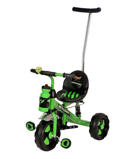 Dash Motocross Stylish Tricycle With Parent Push Handle & Sipper Bottle - Green & Black
