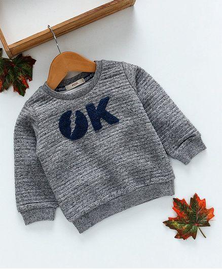 Fox Baby Full Sleeves Winter Wear Tee Ok Patch - Grey