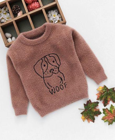 Kookie Kids Unisex Dog Printed Full Sleeves Sweater - Brown