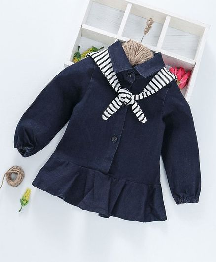Kookie Kids Solid Full Sleeves Dress With Scarf - Navy