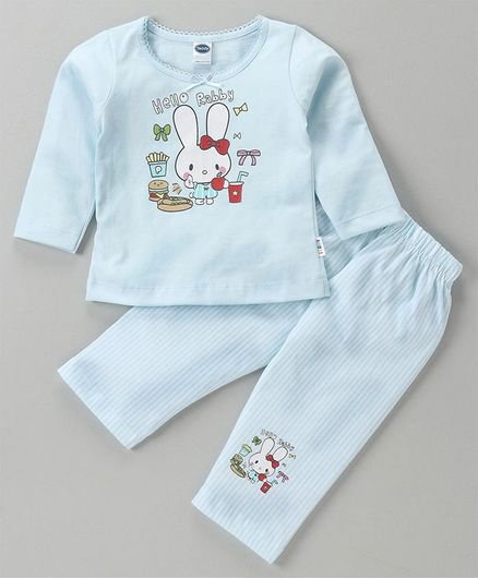 Teddy Full Sleeves Top & Lounge Pant Bunny Print - Blue