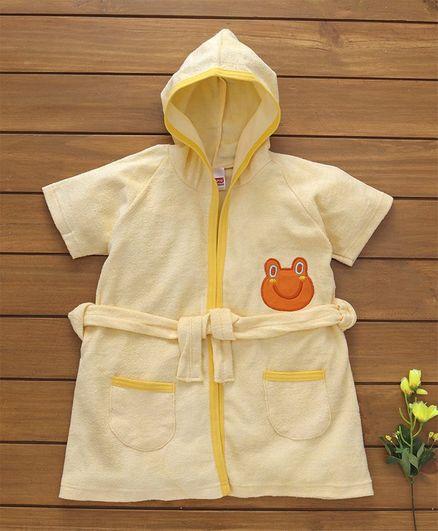Babyhug Short Sleeves Hooded Bath Robe Frog Patch - Yellow