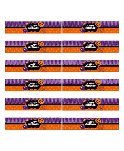Party Propz Halloween Themed Bottle Wrappers Set of 12 - Purple & Orange