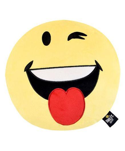Smiley World Naughty Emoji Plush Cushion - Yellow