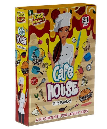 Kids Wagon Caf Kitchen Set Yellow 21 Pieces Online India Buy