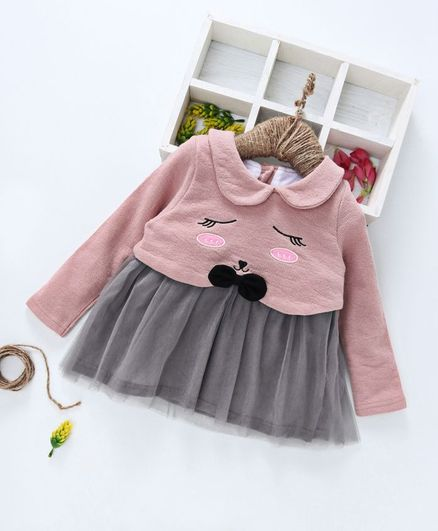 Kookie Kids Face Design Full Sleeves Dress - Pink