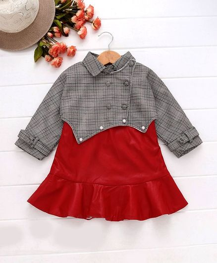 Kookie Kids Checked Full Sleeves Collar Neck Dress - Red