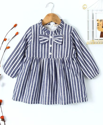 Kookie Kids Striped Full Sleeves Dress - Blue