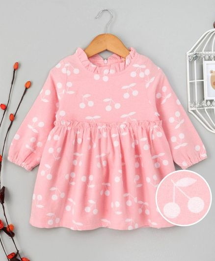 Kookie Kids Cherry Printed Full Sleeves Dress - Pink