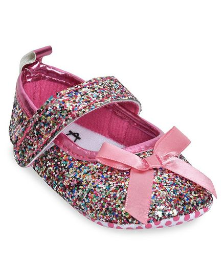 Buy Kiwi Glitter Bow Applique Booties Pink for Girls (1-12 Months ... d28a6ecd893b