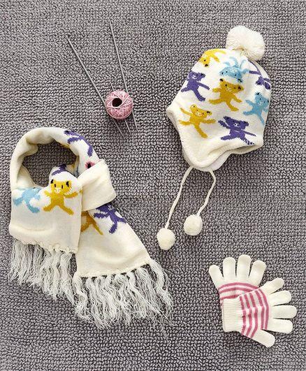 Babyhug Woollen Cap And Muffler With Gloves Bear Design - Cream