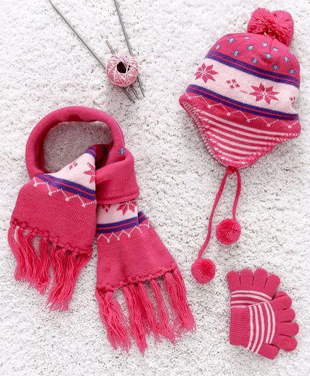 Babyhug Baby Woollen Set - Pink
