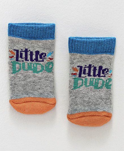 Cute Walk By Babyhug Terry Antibacterial Ankle Length Socks Little Dude Design - Grey