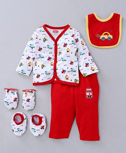 Babyhug Clothing Gift Set Car Embroidery Red White - 5 Pieces