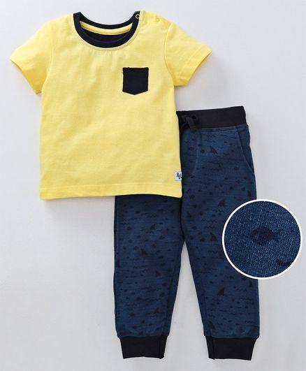 Babyoye Half Sleeves Cotton Tee & Full Length Lounge Pant Shark Print - Yellow Blue