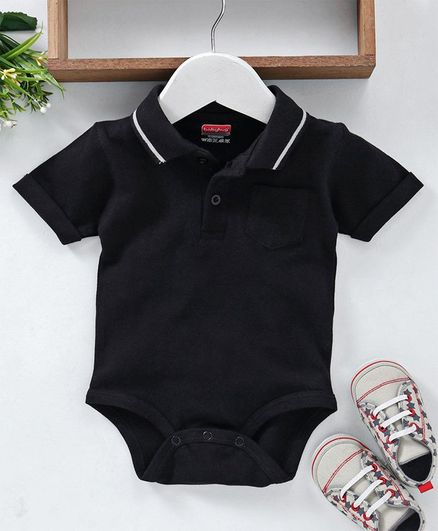 29a77af891f3c Buy Babyhug Half Sleeves Polo Neck Cotton Onesie Black for Boys (6 ...