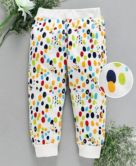 Babyhug Full Length Lounge Pant Pebbles Print - Off White