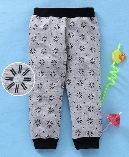 Babyhug Printed Looper Knit Jogger Lounge Pant - Grey Black