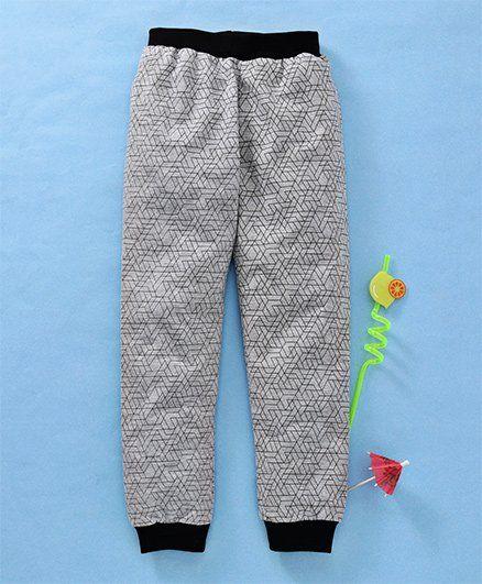 Babyhug Printed Lounge Pant - Grey Black
