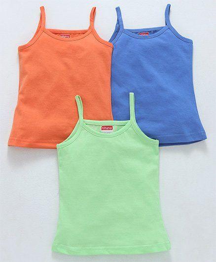 Babyhug Singlet Cotton Slips Pack of 3 - Green Orange Blue