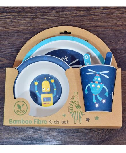 Quirky Monkey Robot Theme Dinner Set Of 5 - Blue