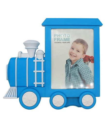 Quirky Monkey Train Shaped Photo Frame - Blue