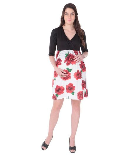 MomToBe Half Sleeves Maternity Dress Floral Print - Black White Red
