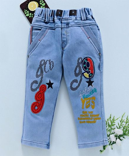 Chicklets 9 Patch Full Length Jeans - Light Blue