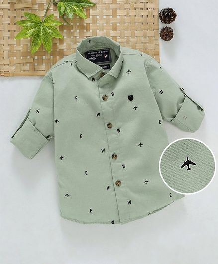 Jash Kids Full Sleeves Cotton Printed Shirt - Light Olive Green