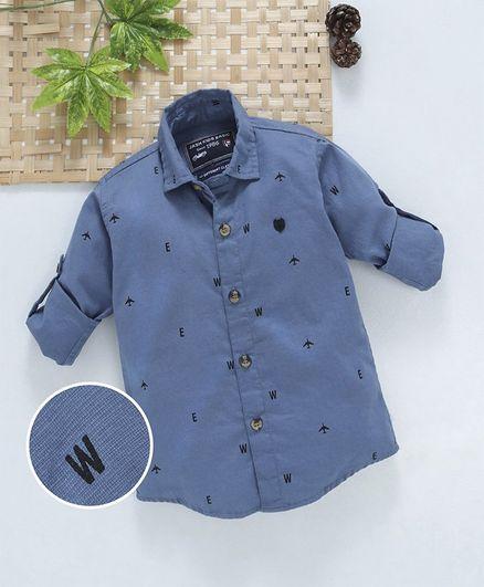 Jash Kids Full Sleeves Cotton Printed Shirt - Blue