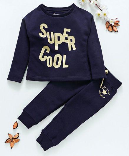Vitamins Full Sleeves Winter Wear Tee & Lounge Pant Super Cool Print - Navy Blue