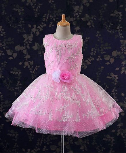 Bluebell Sleeveless Party Frock Floral Embroidery - Pink