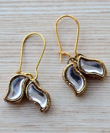 Pretty Ponytails Double Leaf Kundan Design Earrings - Gold & White